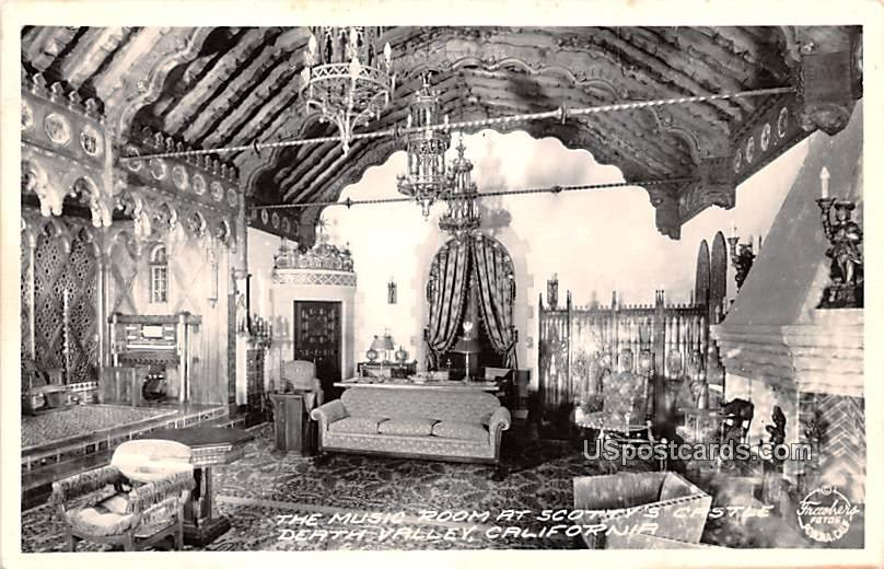 Music Room at Scotty's Castle - Death Valley, California CA Postcard