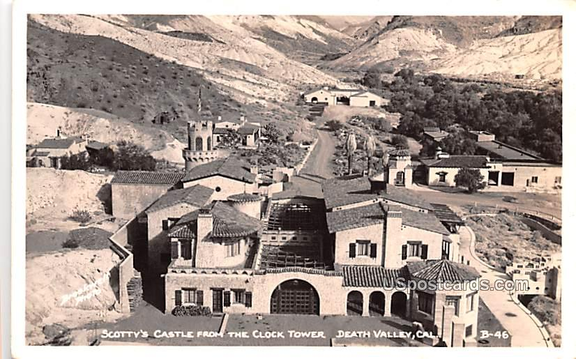 Scotty's Castle from the Clock Tower - Death Valley, California CA Postcard