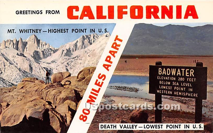 Death Valley, California CA Postcard