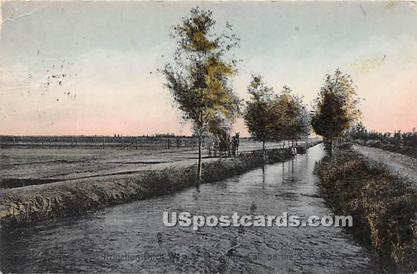 Irrigating Ditch - El Centro, California CA Postcard