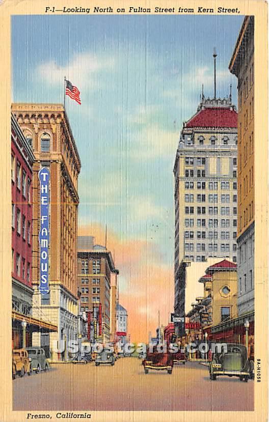 Fulton Street, Kern Street - Fresno, California CA Postcard