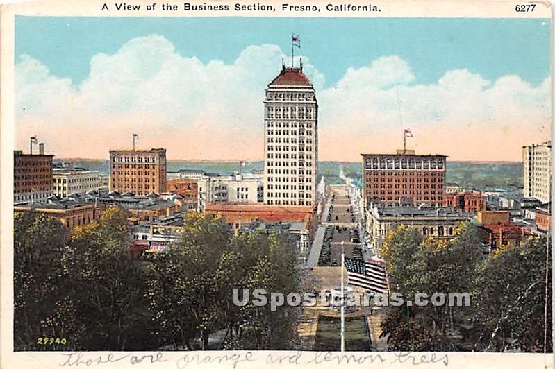 Business Section - Fresno, California CA Postcard