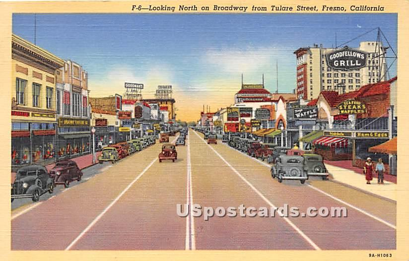 Broadway, Tulare Street - Fresno, California CA Postcard