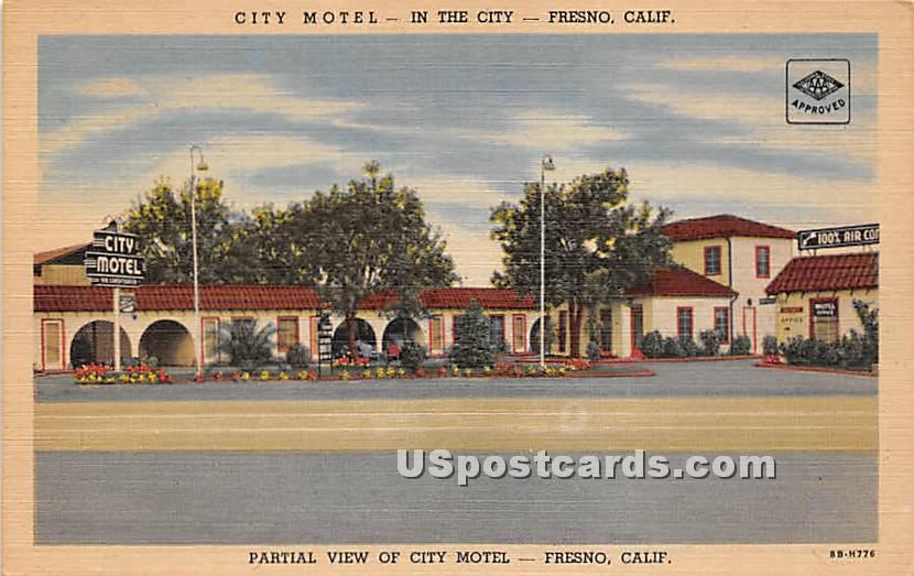 City Motel - Fresno, California CA Postcard