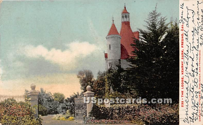 Lodge, Kearny Park - Fresno, California CA Postcard