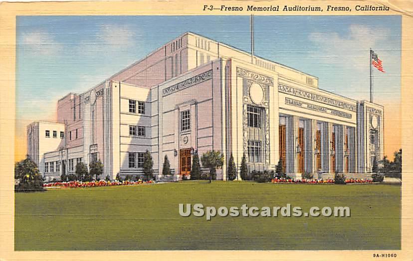 Fresno Memorial Auditorium - California CA Postcard