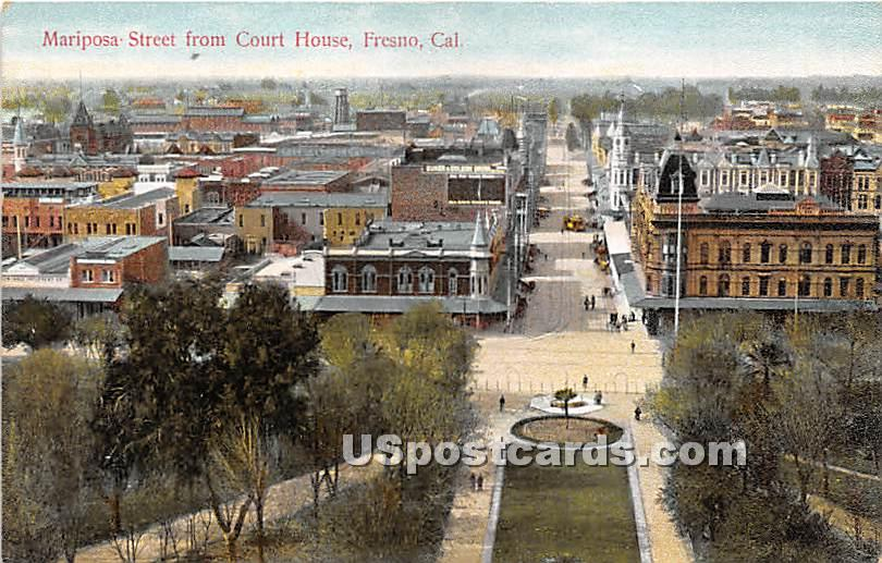 Mariposa Street, Court House - Fresno, California CA Postcard