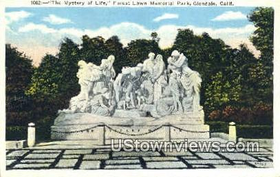 Mystery of Life, Forest Lawn Memorial Park - Glendale, California CA Postcard