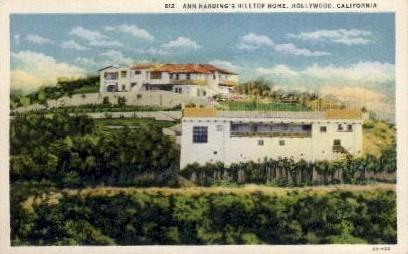Ann Harding's Hilltop Home - Hollywood, California CA Postcard