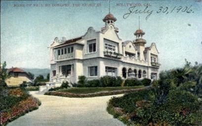 Home of Paul De Longpre - Hollywood, California CA Postcard
