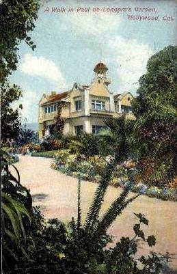 Paul De Longprae's Garden - Hollywood, California CA Postcard