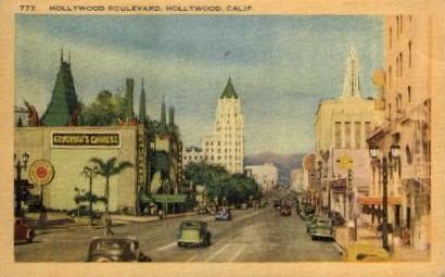 Hollywood Boulevard - California CA Postcard