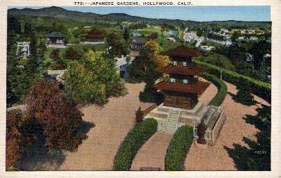 Japanese Gardens - Hollywood, California CA Postcard