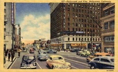 Hollywood and Vine - California CA Postcard