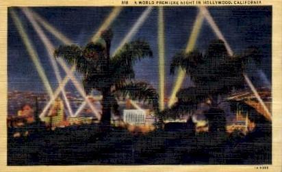A World Premiere Night - Hollywood, California CA Postcard