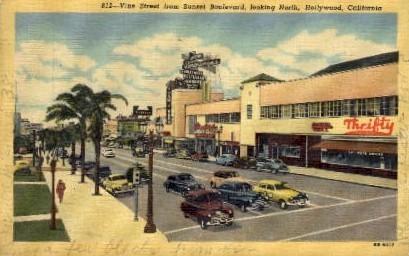 Vine Street from Sunset Boulevard - Hollywood, California CA Postcard