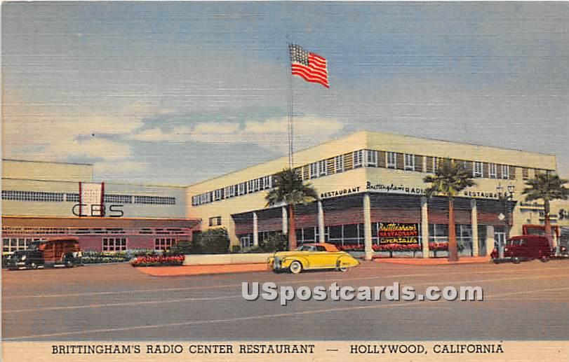 Brittingham's Radio Center Restaurant - Hollywood, California CA Postcard