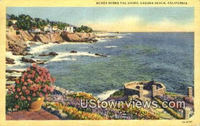 Homes Along the Shore - Laguna Beach, California CA Postcard