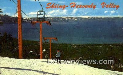Skiing, Heavenly Valley - Lake Tahoe, California CA Postcard