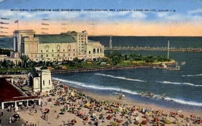 Municipal Auditorium and Bandstand - Long Beach, California CA Postcard