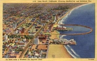 Auditorium and Rainbow Pier - Long Beach, California CA Postcard