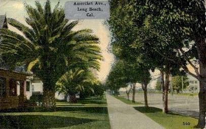 American Ave. - Long Beach, California CA Postcard