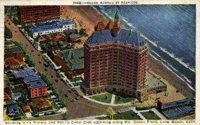 Ocean Avenue at Alamitos - Long Beach, California CA Postcard