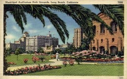 Municipal auditorium and Park Grounds - Long Beach, California CA Postcard
