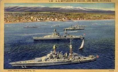 U.S. Battleships at Anchor - Long Beach, California CA Postcard