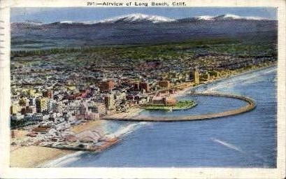 Airview of Long Beach - California CA Postcard