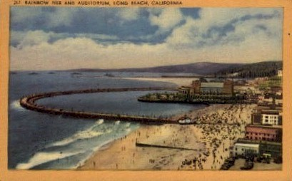 Rainbow Pier and Auditorium - Long Beach, California CA Postcard