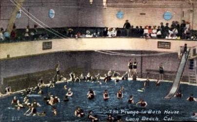 The Plunge in Bath House - Long Beach, California CA Postcard