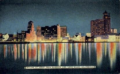 Skyline from Rainbow Pier - Long Beach, California CA Postcard