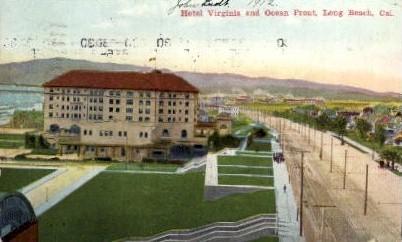 Hotel Virginia and Ocean Front - Long Beach, California CA Postcard