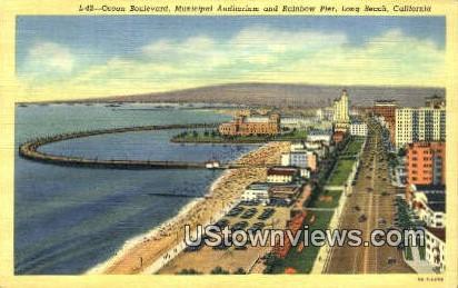 Ocean Blvd, Municipal Aud. - Long Beach, California CA Postcard