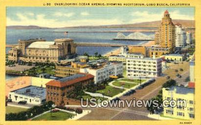 Ocean Ave, Auditorium - Long Beach, California CA Postcard
