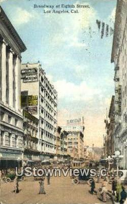 Broadway & Eighth Street - Los Angeles, California CA Postcard