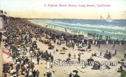 Beach - Long Beach, California CA Postcard