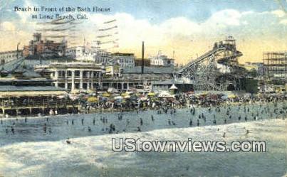 Bath House - Long Beach, California CA Postcard