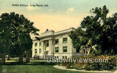 Public Library, Long Beach - California CA Postcard
