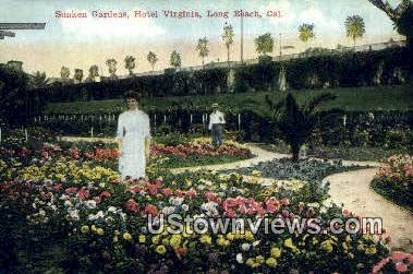 Sunken Gardens, Hotel Virginia - Long Beach, California CA Postcard