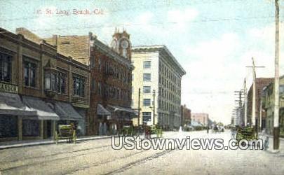 1st Street - Long Beach, California CA Postcard