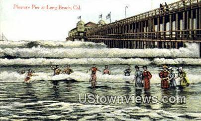 Pleasure Pier - Long Beach, California CA Postcard