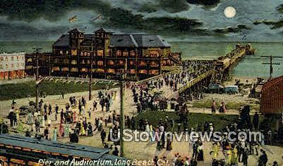 Pier & Auditorium - Long Beach, California CA Postcard