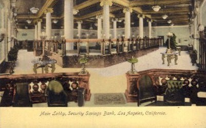 Main Lobby, Security Savings Bank - Los Angeles, California CA Postcard