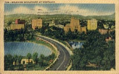 Wilshire Boulevard at Westlake - Los Angeles, California CA Postcard