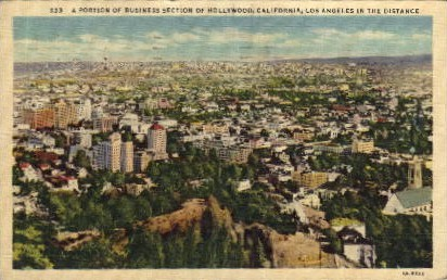 Business Section - Hollywood, California CA Postcard