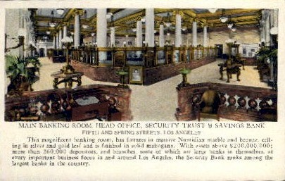 Security Trust & Savings Bank - Los Angeles, California CA Postcard