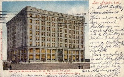 Security Savings Bank - Los Angeles, California CA Postcard