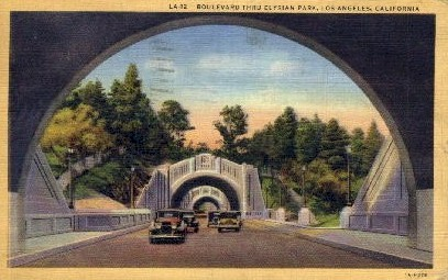 Boulevard Through Elysian Park - Los Angeles, California CA Postcard
